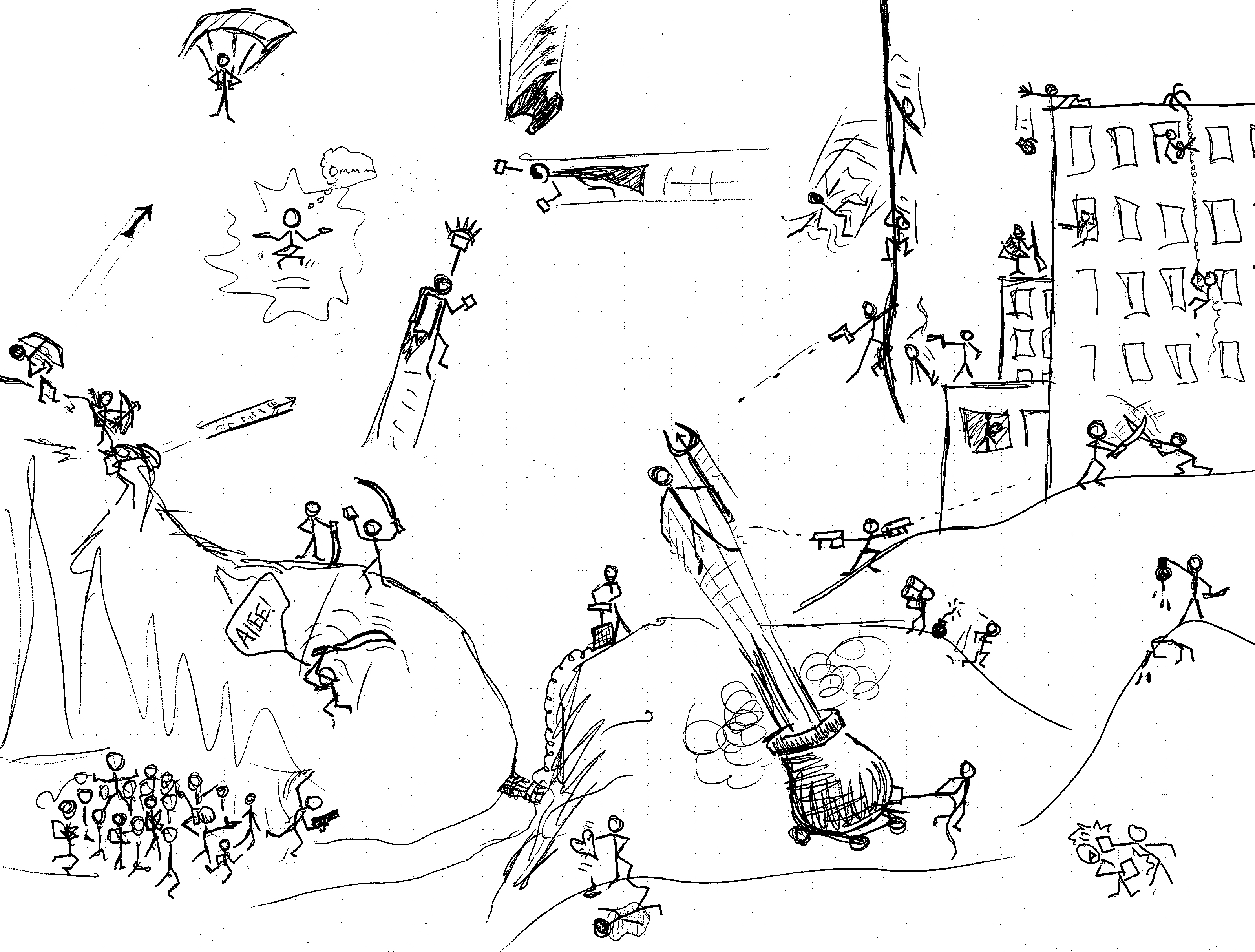 Stickman war drawings